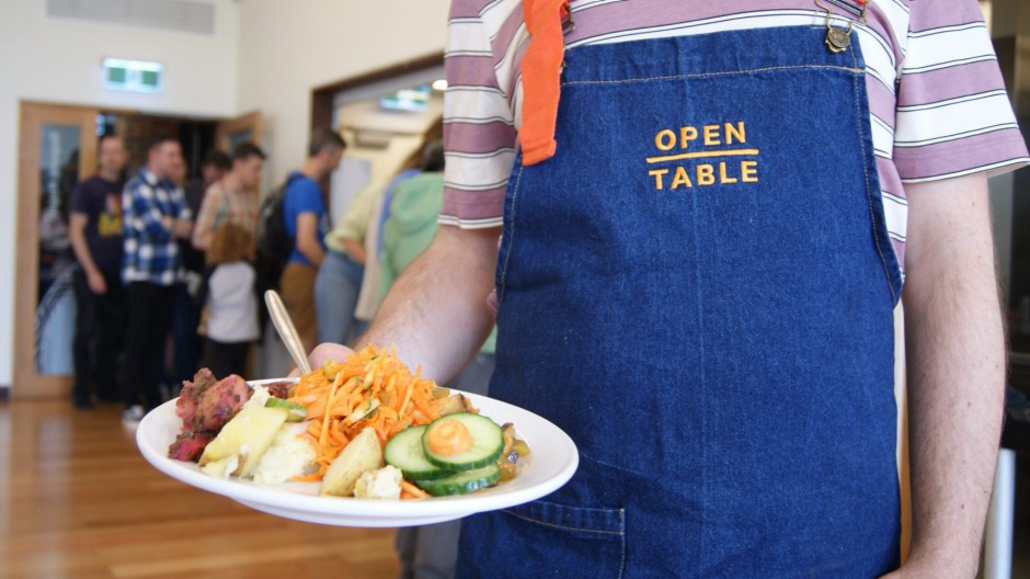 Open to all: free community lunch in North Fitzroy, Melbourne.
