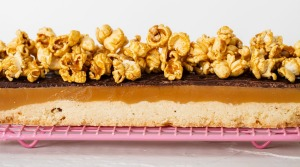 Shortbread caramel slice (with optional caramel popcorn).