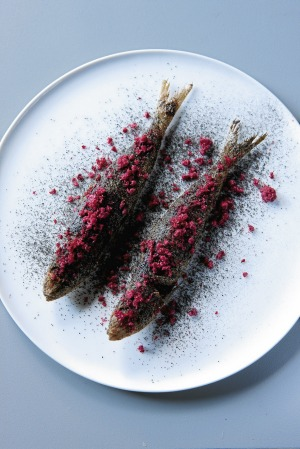 Grilled sardines with dehydrated strawberries and licorice from the East Sydney pop-up.