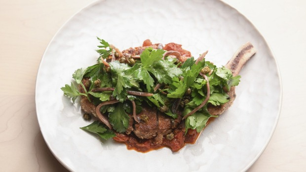 Torello Rose veal schnitzel with parsley, capers and anchovy.