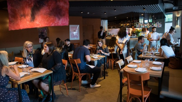 The dark and moody interior is reminiscent of Caffe e Cucina, Maurice Terzini's first Melbourne restaurant.