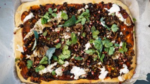 """This Middle Eastern-style lamb """"pizza"""" is a twist on a lahmacun."""