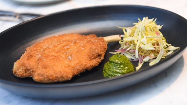 Go-to dish: Pork cotoletta with fennel coleslaw.