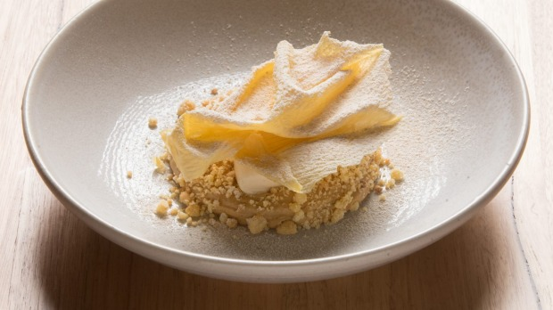 A dessert of caramelised pear with miso ice-cream.