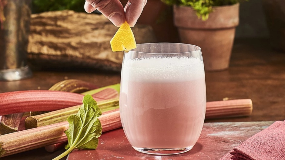 Gin sour made with Warner's Rhubarb Gin.