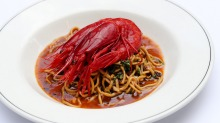 Go-to dish: Handmade noodles, scarlet prawns, XO and coriander.