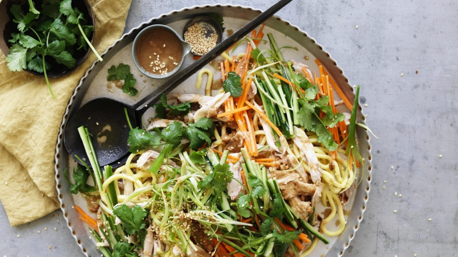 Peanut butter noodles with roast chicken.