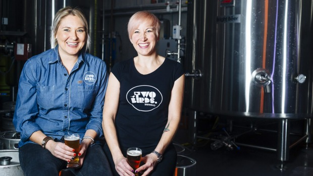 Danielle Allen, left and Jayne Lewis, co-founders of Two Birds Brewing in Melbourne.