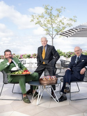 From left: Bruce Keebaugh of The Big Group, Peter Rowland of Peter Rowland Catering and Asaf Smoli of food&desire, at ...