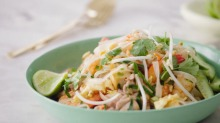 Video still from Jill Dupleix's pad Thai masterclass. Image for Good Food online. How to video produced in partnership ...