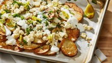 Greek-ish potato nachos are a fun, unexpected and healthier take on the Mexican favourite.