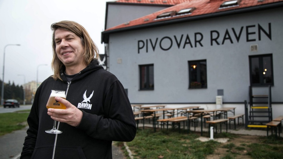 Filip Miller outside his brewpub in the Czech city of Pilsner.