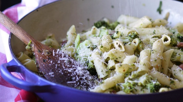 Boil chunky veg such as broccoli florets in with the pasta.