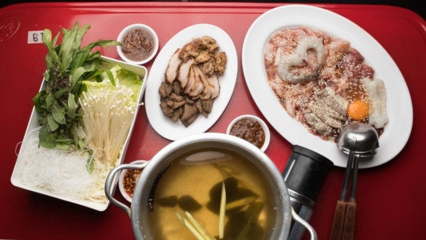 The hotpot barbecue combo serves two.