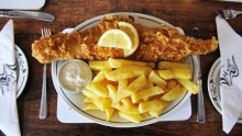 Traditional beef-dripping fish and chips at The Magpie Cafe.