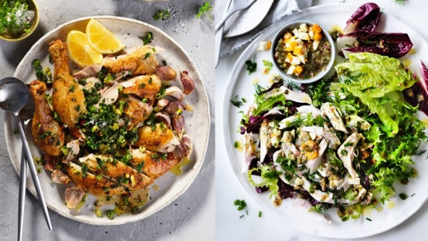 Composite image of two chicken dishes for hot and cold meal planner.