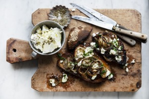 Feta and grilled onion bruschetta.