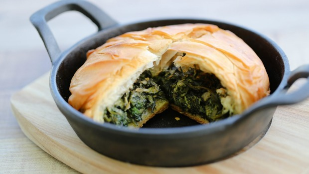 Spanikopita with spinach, nettle and feta filling.