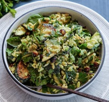 Charred zucchini, risoniand herb pasta salad with parmesan and pea dressing.
