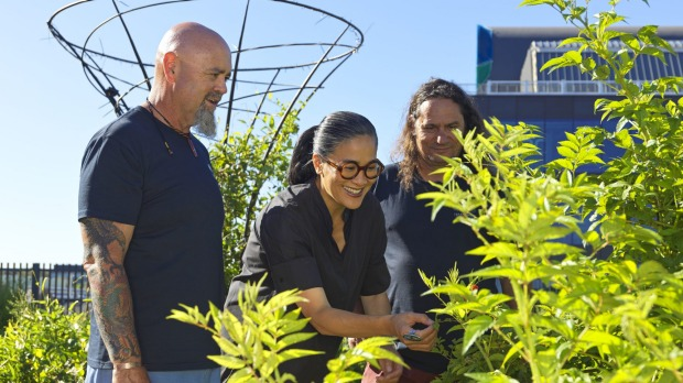 From left, Christian Hampson, Kylie Kwong and Clarence Slockee at Yerrabingin Indigenous food farm.