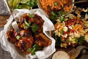 Vietnamese lemongrass chicken with red rice and coleslaw.
