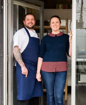 Ex-Rockpool chef Robbie with his wife Rebecca, who now run the City Larder.