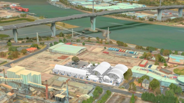 The 10,000 square metre precinct (artist's impression in white) is next to the West Gate Bridge and Yarra River.