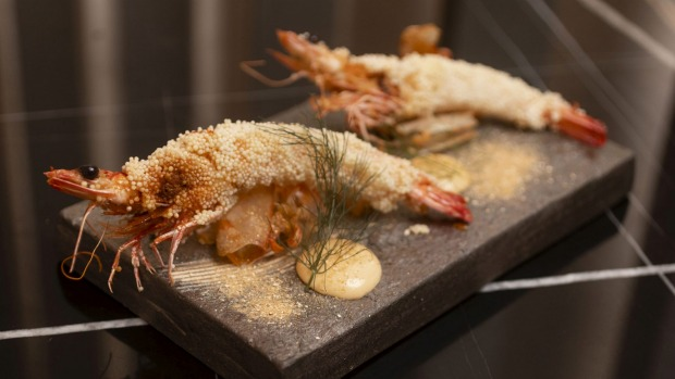 Deep-fried king prawns with arare crumb.