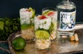 Lime, lychee and finger lime gin fizz.