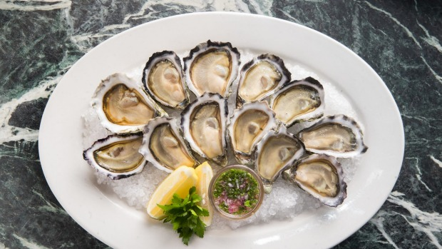 Oysters are shucked to order.