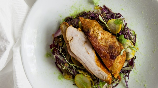 Chicken breast with chickpeas, hummus and fennel.