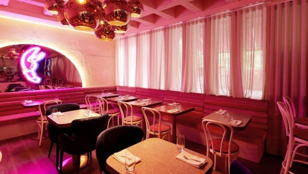 Pretty in pink at Pinchy's Champagne and Lobster Bar,.