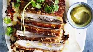 Adam Liaw's quick roast pork belly served with sour applesauce.