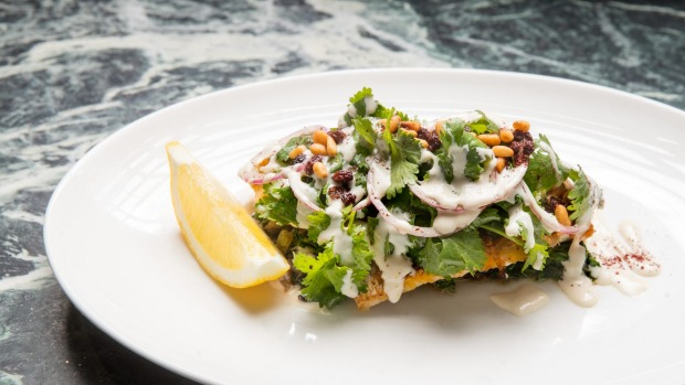 Lebanese snapper with silverbeet, sumac, tahini, currants and pinenuts.