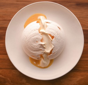 Smoked egg pavlova with passionfruit.