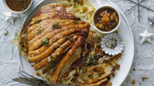 Roast crackling pork with mustard gravy and summer fruit chutney.