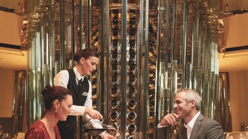 Celebrity Cruises showcases global wines in a two-storey steel and glass tower.