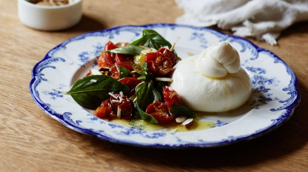 Julia Busuttil Nishimura's burrata with roasted cherry tomato and basil.