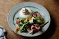 Julia Busuttil Nishimura's burrata with zucchini, rocket and prosciutto.
