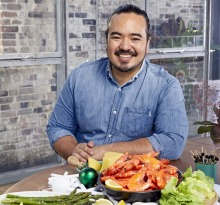 Adam Liaw pictured with his prawn party platter.