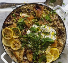 Karen Martini's Spiced Persian chicken with rice, pistachio and mint