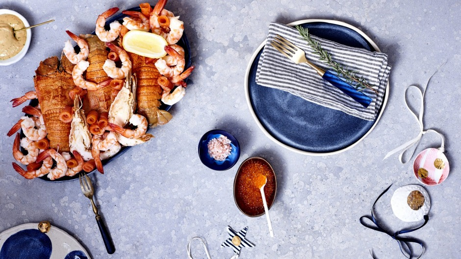 Table dressing: inky, watery blues work for hot sunny days.