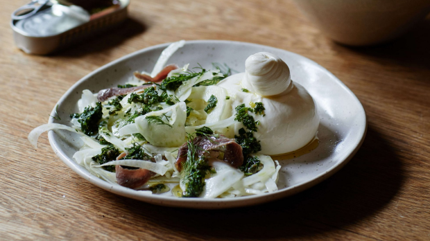 Julia Busuttil Nishimura's burrata with anchovies, fennel and salsa verde.