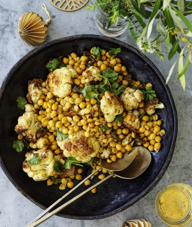 Kylie Kwong's spiced fried cauliflower and chickpeas.