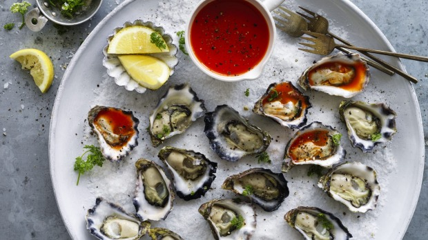 ***EMBARGOED FOR SUNDAY LIFE, DECEMBER 8/19 ISSUE*** Adam Liaw recipe : Oyster platter with homemade Oyster hot sauce Photograph by William Meppem (photographer on contract, no restrictions)