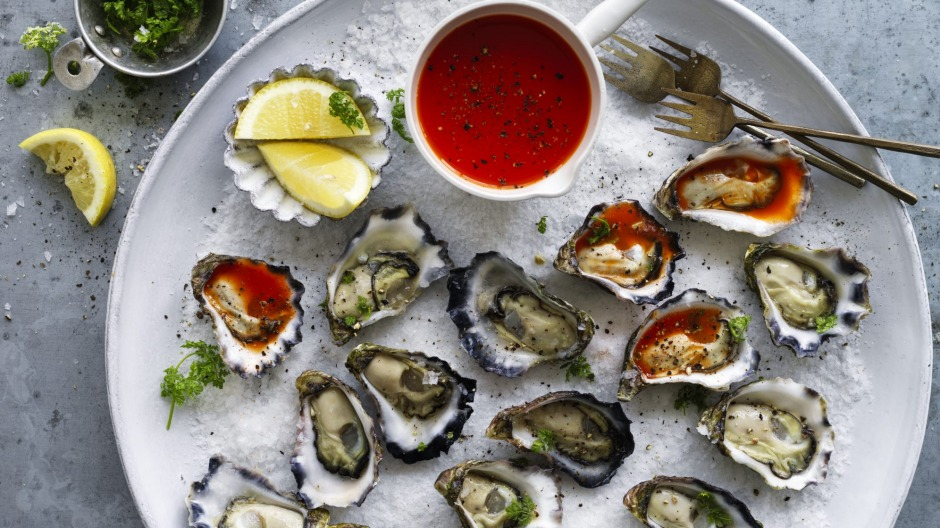 Oyster platter with homemade hot sauce.