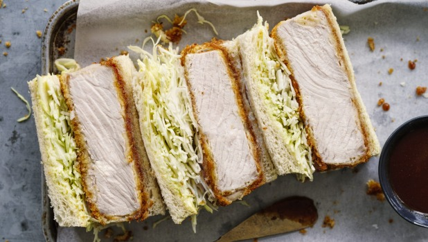 Katsu finger sandwiches filled with panko-crumbed pork and cabbage.