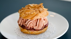 Cafe Paci's chicken liver Paris-Brest with onion jam.