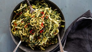 Vegan-friendly cabbage, kale and chilli slaw.
