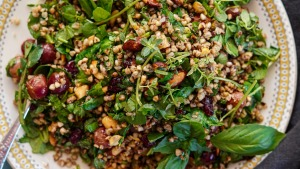 Toasted buckwheat, blistered grape and herb salad.